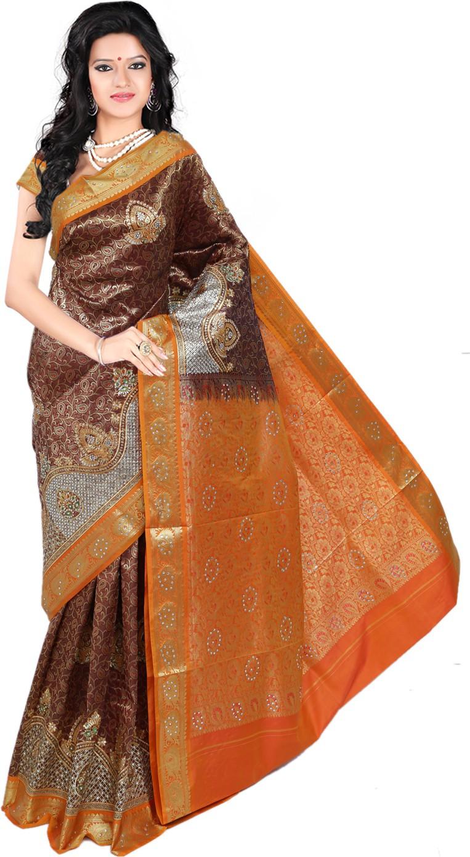 Roopkala Silks Embellished Dharmavaram Brocade Saree(Brown)