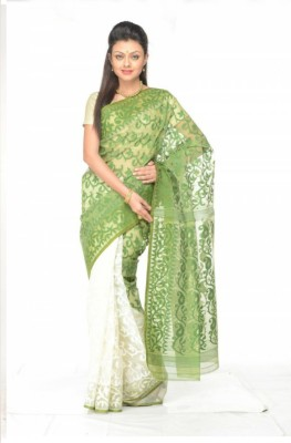 Rudrakshhh Embroidered Jamdani Handloom Cotton Saree(Green, White) at flipkart