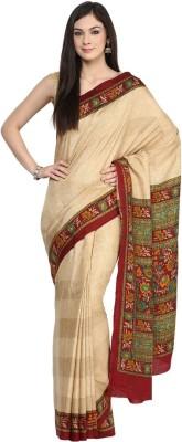 VIVID INDIA Floral Print Fashion Polycotton Sari