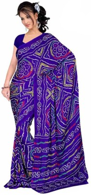 Sangeetasarees Plain Bandhej Crepe Sari