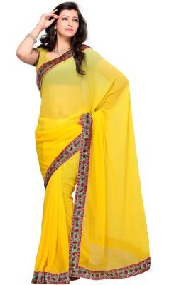 JTInternational Solid, Self Design Fashion Georgette Sari