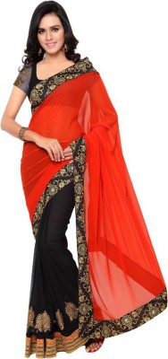 EthnicPark Self Design Fashion Georgette Sari(Multicolor)