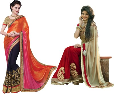 Red Carpet Self Design, Plain, Embriodered Bollywood Georgette, Georgette Sari