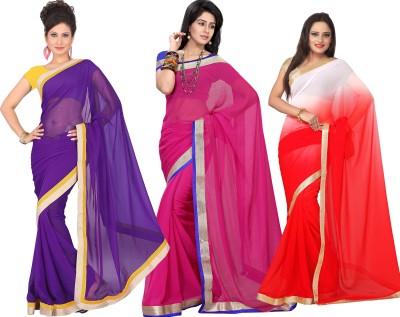 Silkbazar Self Design Fashion Synthetic Chiffon Sari