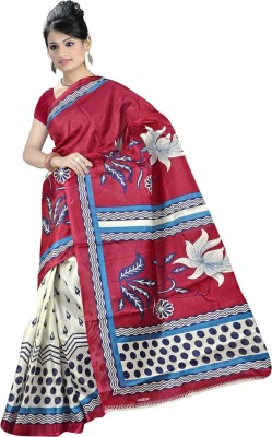 Maxusfashion Printed Bhagalpuri Silk Sari