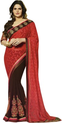 Prerna Fashion Embriodered Fashion Brasso, Georgette Sari