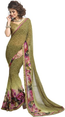 Zemi Floral Print Fashion Georgette Sari
