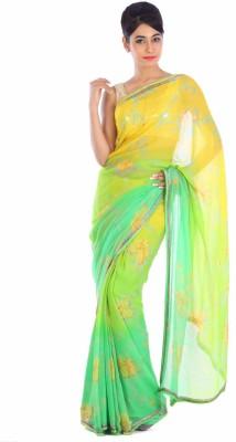 Geroo Printed Fashion Chiffon Saree(Yellow) at flipkart