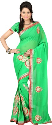 Ansu Fashion Self Design Fashion Georgette Saree(Green) at flipkart
