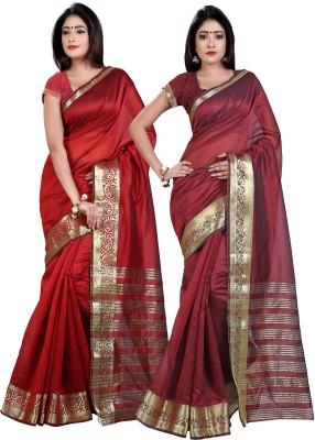 Weavedeal Solid Banarasi Chanderi Sari