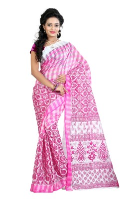 Needle Impression Printed Assam Silk Handloom Silk Sari(Pink)