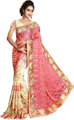 Pragati Fashion Hab Embroidered Fashion Brasso, Georgette Sari(Pink, Multicolor)