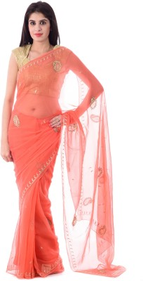 Shri Krishnam Embriodered, Embellished, Paisley Fashion Chiffon Sari