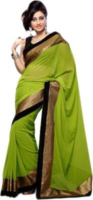 Festivemall Solid Fashion Georgette Sari