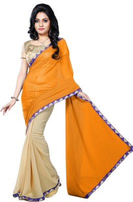 Vruticreation Self Design, Embriodered Bollywood Handloom Lycra, Georgette Sari