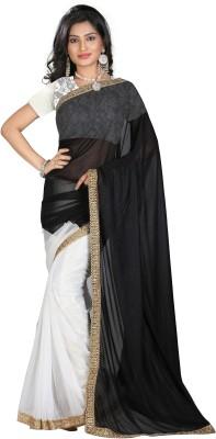 STARLIGHT CLUB Embroidered Fashion Georgette Sari(Black)