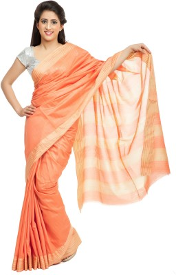Elite Handicrafts Checkered Bhagalpuri Handloom Silk Cotton Blend Sari