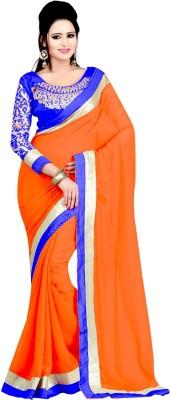 Winza Embriodered, Embellished, Solid Fashion Chiffon Sari
