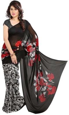 Myfab Floral Print, Printed Fashion Synthetic Fabric Sari