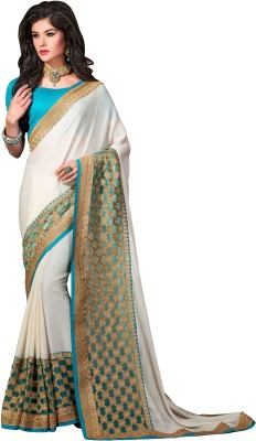 Aarna,s Collection Embriodered Fashion Pure Georgette Sari