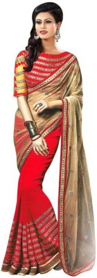 Kmozi Embriodered Fashion Georgette, Net Sari