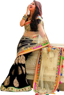 MatindraEnterprise Embriodered Bollywood Handloom Net, Viscose Sari