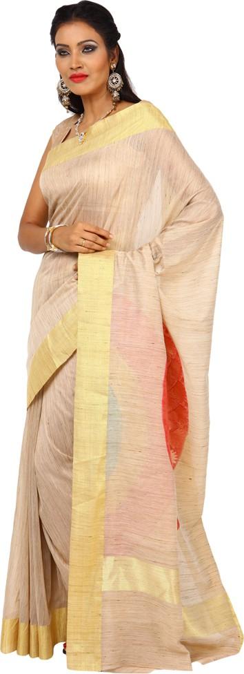 Kataan Bazaar Woven Banarasi Handloom Tussar Silk Sari(Beige)