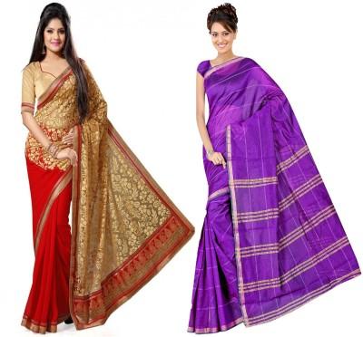 Indian E Fashion Plain, Embriodered, Paisley Chanderi Brasso, Polycotton Sari