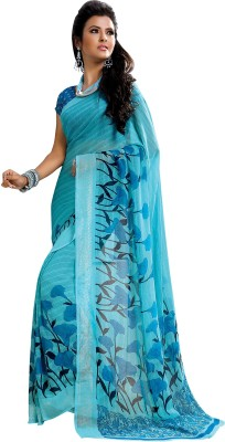 Vachi Floral Print Fashion Pure Georgette Sari