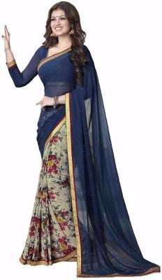 PRN Floral Print Bollywood Handloom Georgette Sari