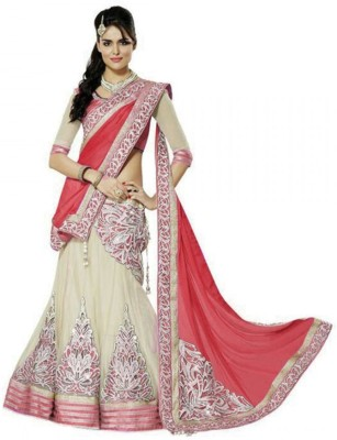FB Fashion Net Embroidered Semi-stitched Lehenga Choli Material