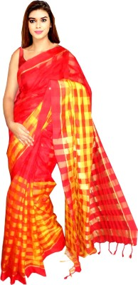 Tyra Sarees Checkered Banarasi Handloom Cotton Sari