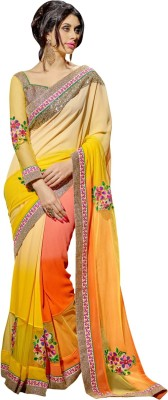 Aagamanfashion Self Design Fashion Net, Synthetic Georgette Sari