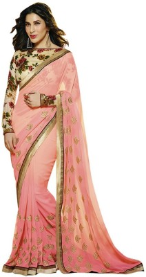 MatindraEnterprise Embriodered Bollywood Georgette Sari