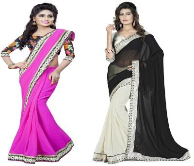 Omkarcreation Floral Print Bollywood Georgette Sari