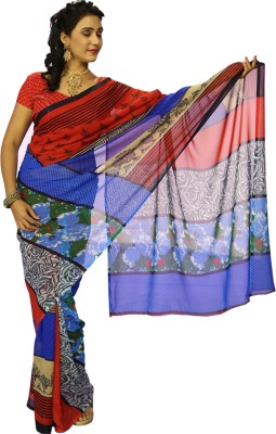 Wishing Wardrobe Printed Fashion Handloom Georgette Sari