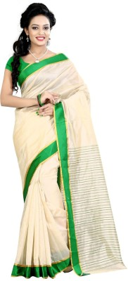 Needle Impression Printed Assam Silk Handloom Silk Sari(Green, Beige)