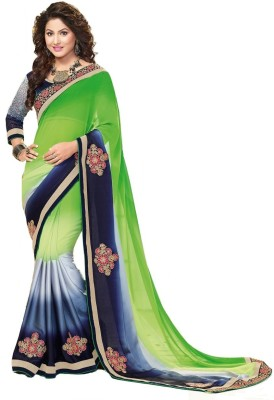Imago Embriodered Bollywood Georgette, Satin Sari