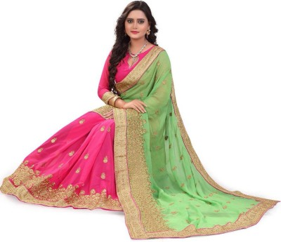 Rudra fashion Embroidered Bollywood Georgette Saree(Multicolor) at flipkart
