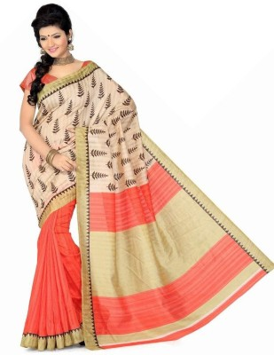 Shreet fashion Graphic Print, Solid Bhagalpuri Art Silk Sari