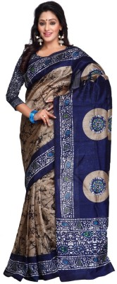 Yuvanika Printed Bhagalpuri Art Silk Saree(Multicolor) at flipkart
