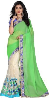 STARLIGHT CLUB Embroidered Fashion Net Sari(Green)