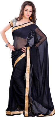 Yehii Solid Fashion Pure Chiffon Sari