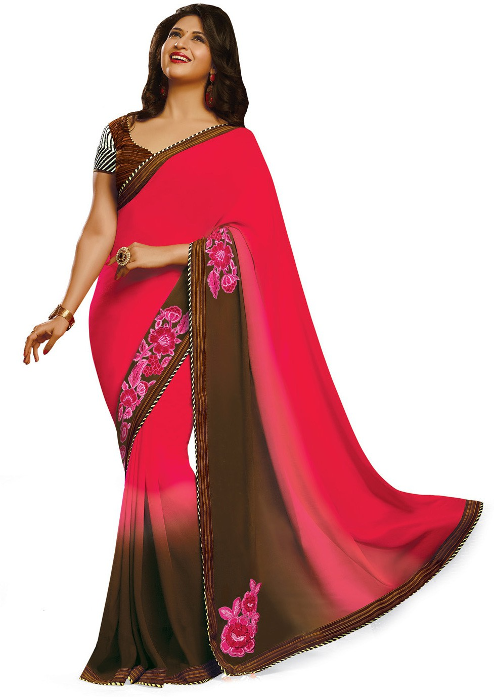 Indianbeauty Self Design, Embroidered Bollywood Pure Georgette Saree(Red, Brown)