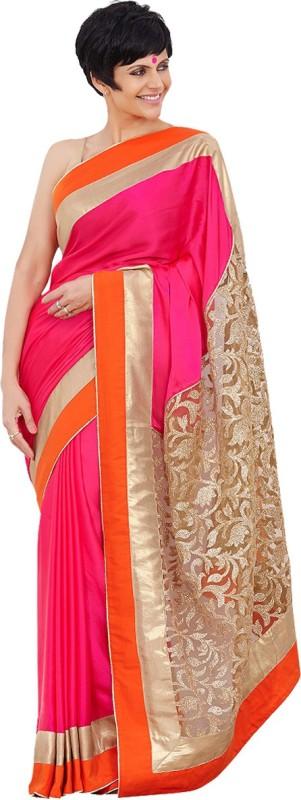 Khantil Embroidered Fashion Net Saree(Orange)