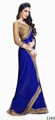zhenith creation Plain Fashion Georgette Sari