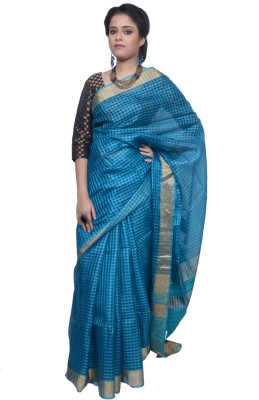 Tanjinas Checkered, Self Design Fashion Handloom Tussar Silk Sari
