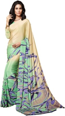 DESIGN WILLA Printed Bollywood Crepe Saree(Multicolor) at flipkart