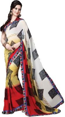 365 Labels Geometric Print Bollywood Georgette Sari