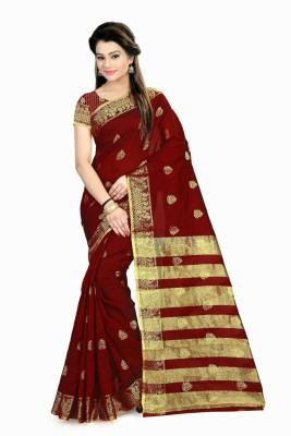 Rajasthani Bandej Self Design Fashion Silk Cotton Blend Saree(Maroon, Gold) at flipkart